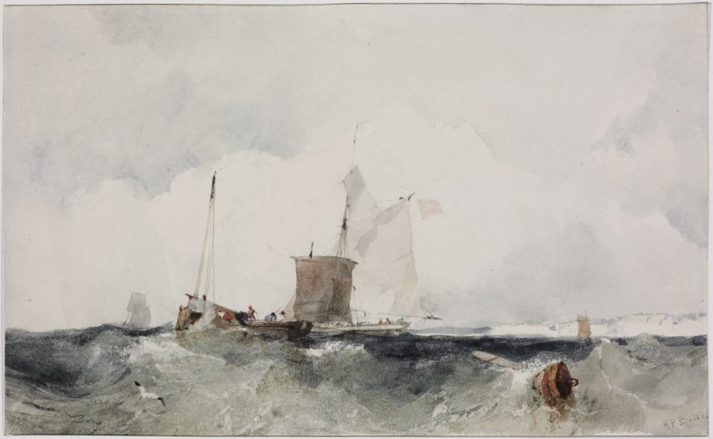 Fishing boats on the wavy sea