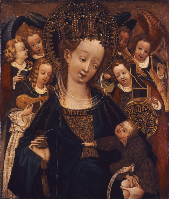 Westphalian master: Virgin and Child Enthroned with Six Angels