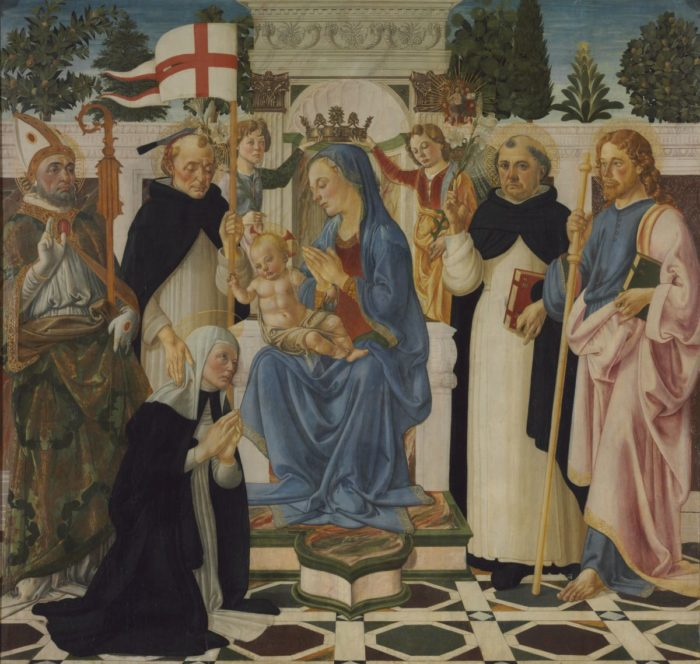Andrea del Verrocchio (workshop of) Biagio d'Antonio: Virgin and Child Enthroned with Saints an Two Angles