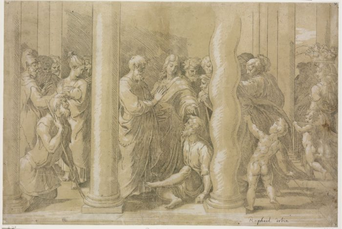 Parmigianino after Raphael: Saint Peter and Saint John Healing the Cripples at the Gate of the Temple, ca. 1524–1530